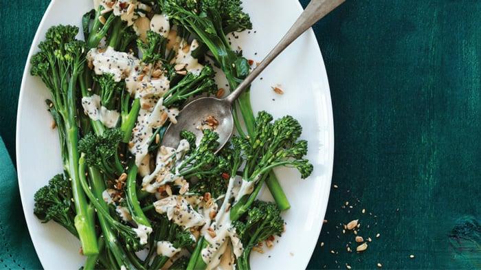 Lemon Tahini Smothered Broccolini
