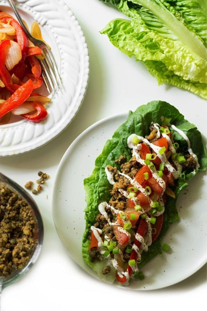 Lentil Walnut Green Taco Wraps